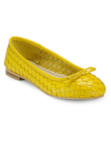 b8aabdf6e76 Yellow Daisy Woven Leather Ballerinas at Rs 1080  pair