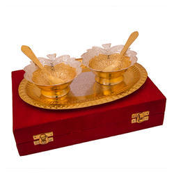 Silver and Gold Plated Leave Bowl Set