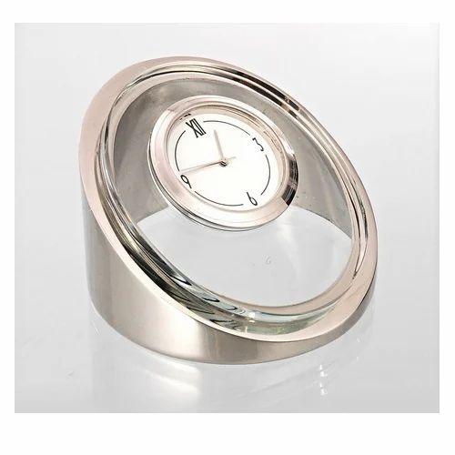 Silver Color Glass Table Clock