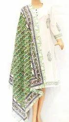 Block Printed Cotton Malmal Dupatta