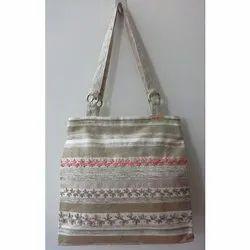Cotton Handled Designer Embroidered Silk Tote Bag