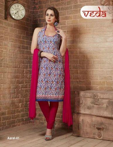 9248709eea Printed Cotton Dress Material With Chiffon Dupatta, Rs 450 /set | ID ...