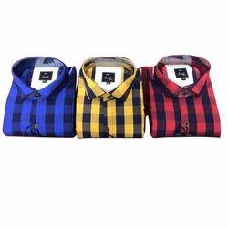 Cotton Casual Check Shirt, Size: XL, S, M, L, XXL