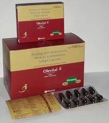 Ginseng Extract 3% 90mg,Vit B1 1mg Vit b 500mcg, Vit B2 1.5mg, Vit B6 1mg,Vit B12 1mcg, Vit Softgel