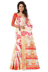 Designer Printed Poly Cotton Saree For Pooja, Construction Type: Machine