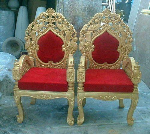 Red And Golden Wooden Indian Wedding Mandap Chair