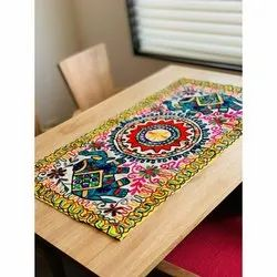 Ethnic Arts Cotton Rectangular Embroidered Table Covers, Size: 50 X 100 Cm