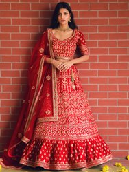 Exclusive Women's Bridal Wear Embroidered Lehenga Choli By Parvati Fabric (76642)
