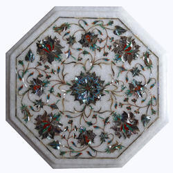 White Marble Inlay Table Top with the Filigree