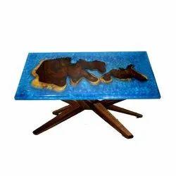 Rectangular Blue Handicraft Wooden Table For Restaurant