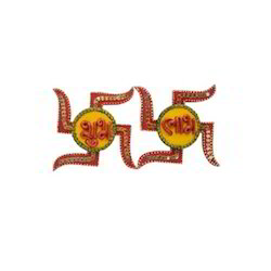 Wooden Paper Mache Swastika Shape Shubh-labh With Kundan