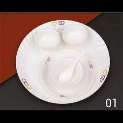 Ceramic White Big Border Heavy Dish Set for Home, Size: 13 Inches