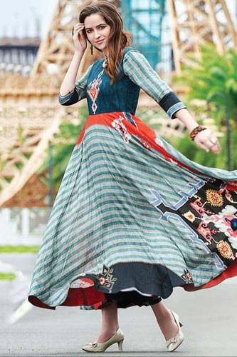 9240867bf30 Ladies Gowns - Teal Blue and Grey Digital Print Flared Gown Wholesale  Trader from Ahmedabad