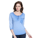 Women 100% Cotton Self Design Henley Light Blue T-shirt