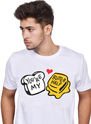 Pure White Half Sleeve Unisex Printed Cotton T-shirt For Couple