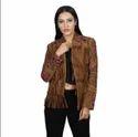Women Brown Ladies Fringes Leather Jacket