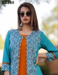 LONG Casual Wear Designer Silk Kurti, Machine wash
