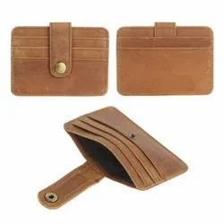 Leather Credit Card Case Hunter Brown