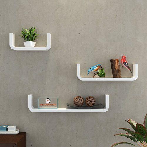 Mdf Floating Wall Shelf Set Of 3 U Shape Round