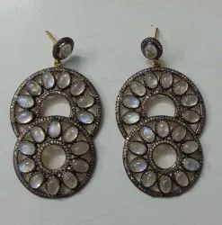 Silver Rainbow Moon Stone  Pave Diamond Anniversary Gift Dangle Earrings