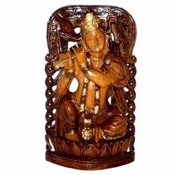 Wooden Krishna Statue Black Finishing Work
