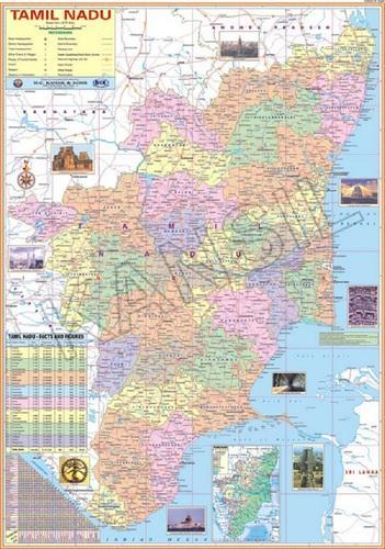Mlticolour Laminated Paper Tamilnadu For Political State Map Size