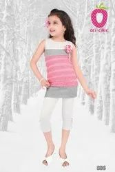 Girl Charming Pink Top And White Legging