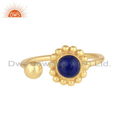 Blue Lapis Lazuli Flower Design Handmade Gold Plated 925 Silver Ring