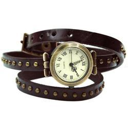 Yasumi Studio Brown Leather Cuff Watch Bracelet