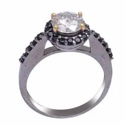 Fine Moissanite and Black Diamond Ring in Sterling Silver