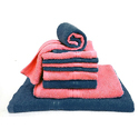 Bombay Dyeing Petal 10 Piece Cotton Towel Set - Navy Blue And Pink