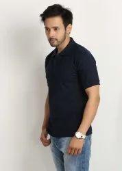 Polo Neck Black Plain T Shirt