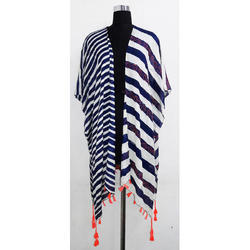 Cotton Printed Ruana Beach Cover Up with Tassels