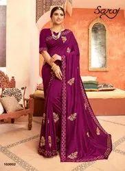 Designer Party Wear Silk Diamond Work Saree