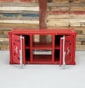 Red Industrial Metal TV Cabinet, Container Style