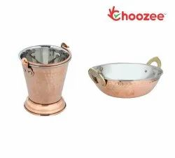 Choozee -Steel Copper Serving Items Set of 2 Pcs (Bucket and Kadhai) (600Ml)