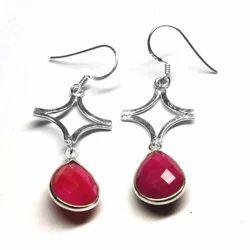 Ruby Silver Earring