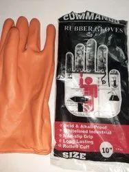 ORANGE Washable Rubber Gloves 10, For Industrial, Model Name/Number: Commando
