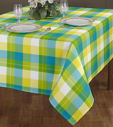 airwill-label L Green / White Table Cloth, Size: 140 X 180 Cm