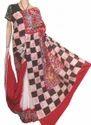 White Cotton Batik Saree, 6.3 M (with Blouse Piece), Packaging Type: Plastic Bag