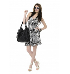 White Printed And Color Sleeveless Printed Summer Dress