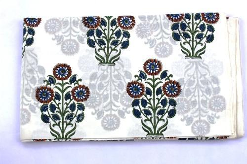 Cotton Voile Fabric Natural Crafting Hand Block Print By The Yard