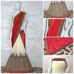 Riva Designer Kutchi Work With Real Mirror Handwork Saree