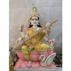Marble Saraswati Maa Statue On Lotus
