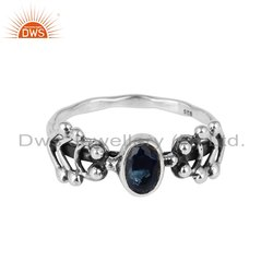 925 Silver Oxidized Blue Corundum Gemstone Ring