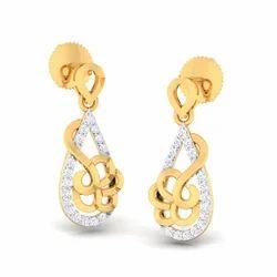 Classic Designed Diamond Gold Earrings
