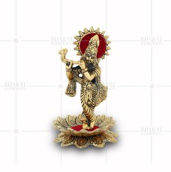 Gold Plated Kamal Krishna Statue