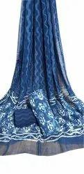 Indigo Dabu Hand Printed Cotton Saree