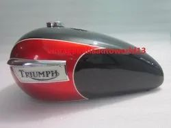 New Triumph T140 Black And Cherry Painted Petrol Tank (Repro) With Badges And Chrome Cap & Tap