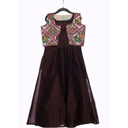 184738b7d2f Kids Brown Party Wear Coffee Silk Gown With Patola Jacket